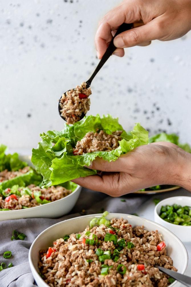 Asian Style Turkey Lettuce Wraps