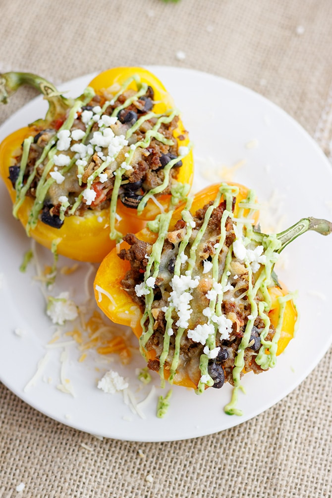 Chipotle Beef & Bean Stuffed Peppers