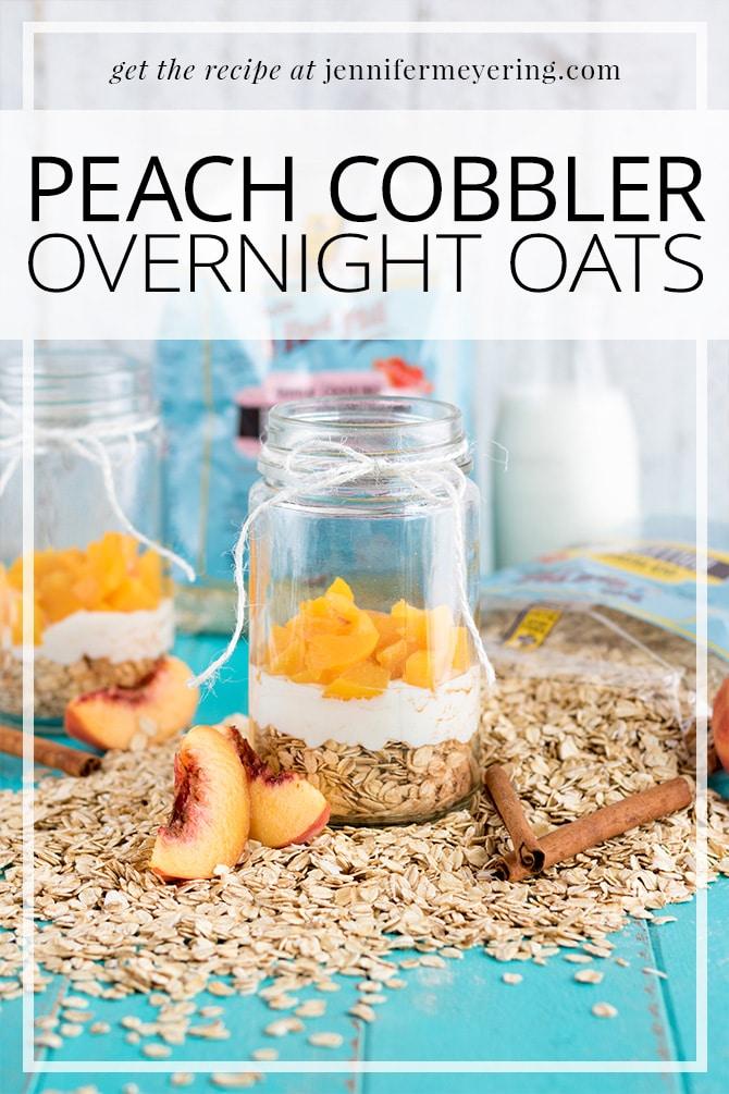 Peach Cobbler Overnight Oats - JenniferMeyering.com