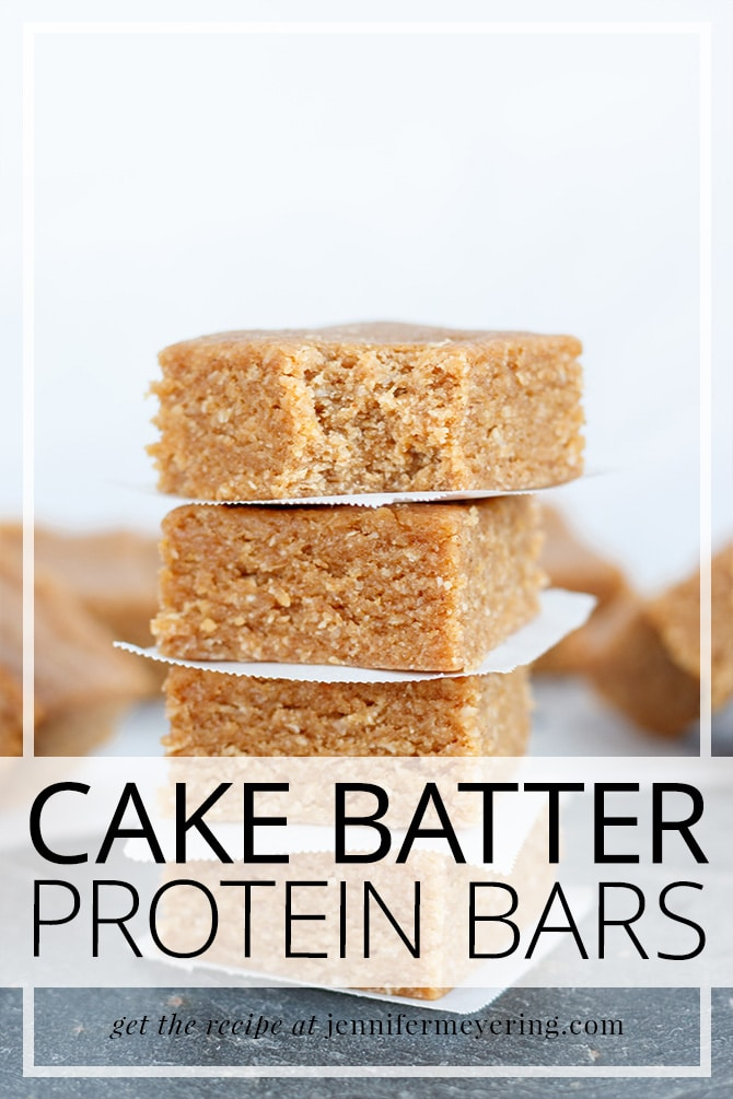 Cake Batter Protein Bars - JenniferMeyering.com