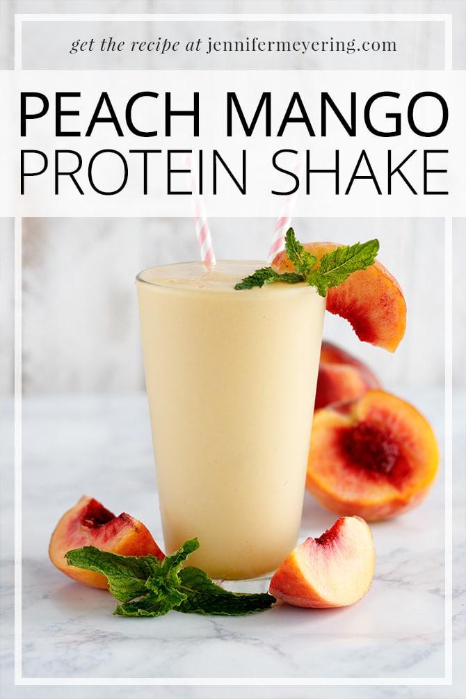 Peach Mango Protein Shake - JenniferMeyering.com