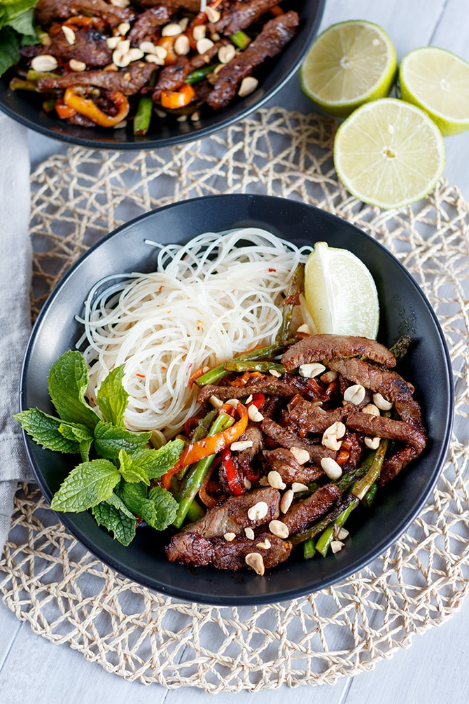 Thai Rice Noodle & Steak Stir-Fry