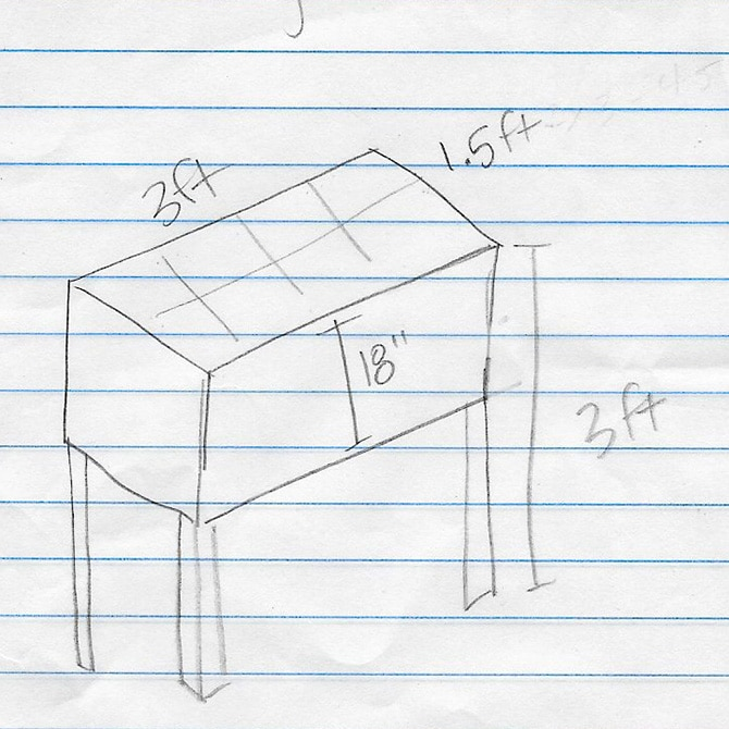 DIY Raised Garden Planter Box Sketch
