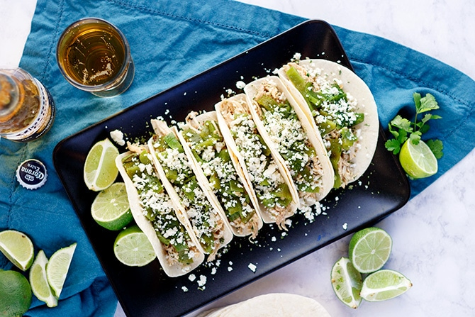 Shredded Chicken Poblano Tacos