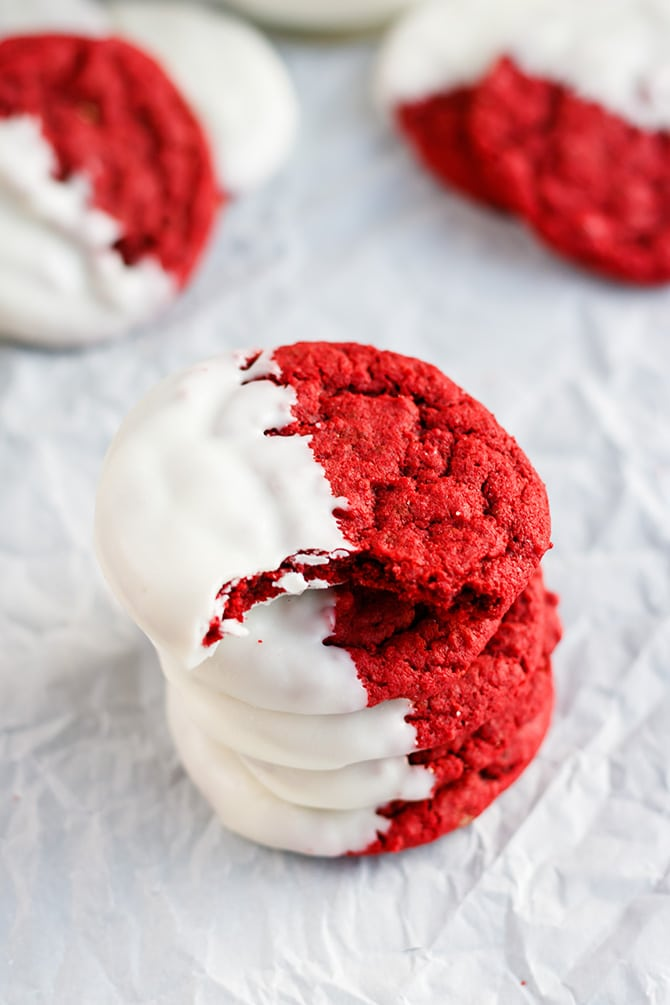 White Chocolate Dipped Red Velvet Cookies